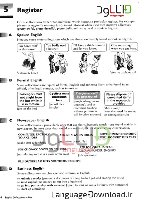 کتاب لغات English collocation in use