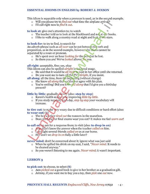 مجموعه اصطلاحات Essential Idioms in English